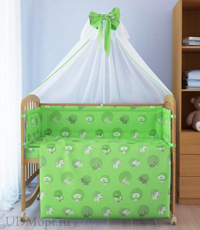 """Комплект в кроватку """"Наши друзья"""" 7 предметов, зеленый оптом и в розницу"""