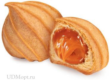 Печенье «Заварные пышечки» с варёной сгущёнкой, заварное (коробка 2кг) оптом и в розницу