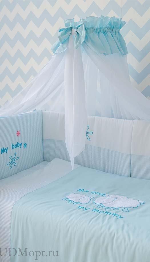 """Комплект в кроватку Polini kids """"Белые кудряшки"""" 7 предметов 140х70 оптом и в розницу"""