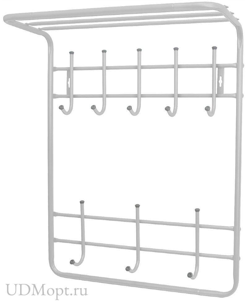 Вешалка с полкой настенная металлическая 8т оптом и в розницу