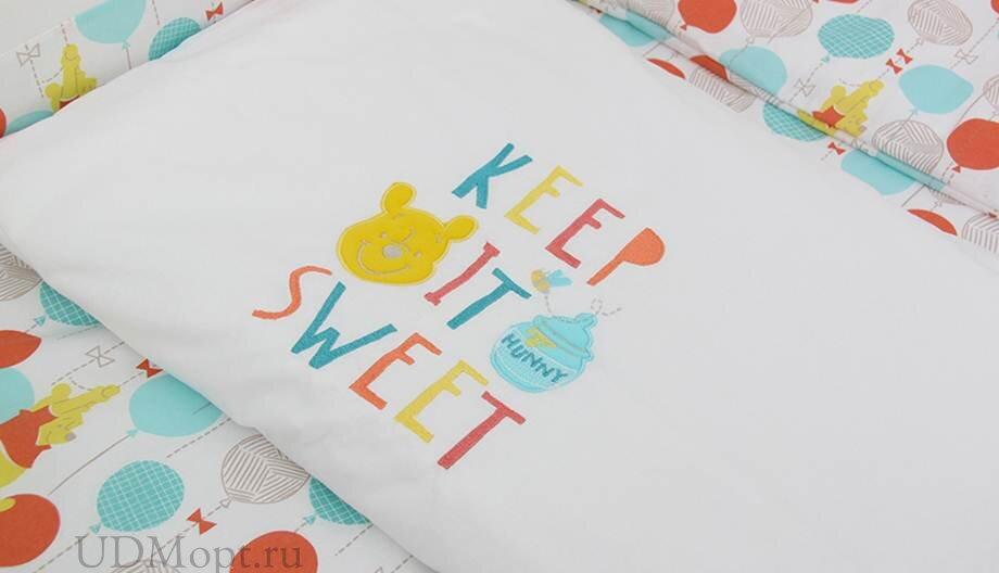 """Комплект в кроватку Polini kids Disney baby Медвежонок Винни """"Чудесный день"""", 7 предметов, желтый оптом и в розницу"""