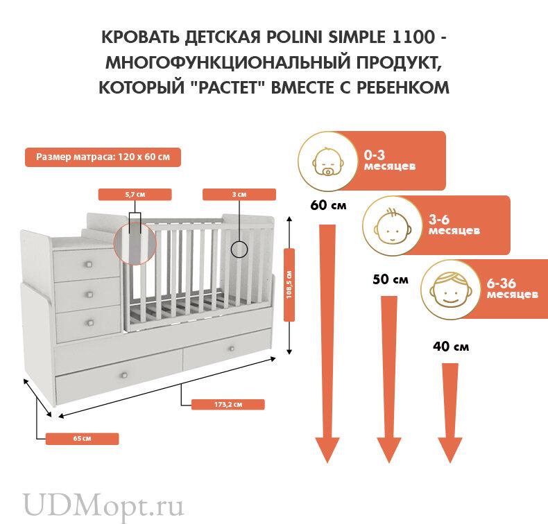 Кроватка детская Polini kids Simple 1100 с комодом, белый оптом и в розницу