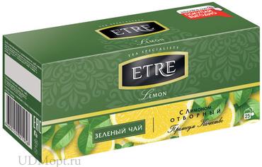 «ETRE», lemon чай зелёный с лимоном, 25 пакетиков, 50г оптом и в розницу