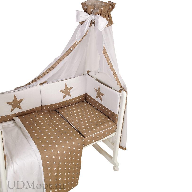 Комплект в кроватку Polini kids Звезды 7 предметов, 120х60, макиато оптом и в розницу