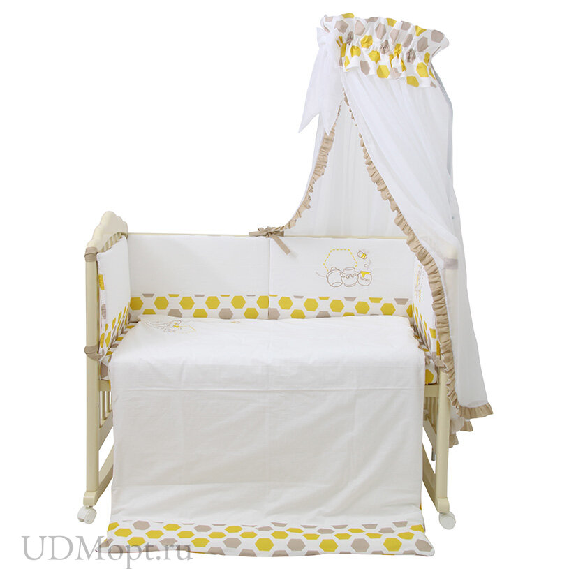 Комплект в кроватку Polini kids Disney baby Медвежонок Винни и его друзья, 7 предметов, макиато-желт оптом и в розницу