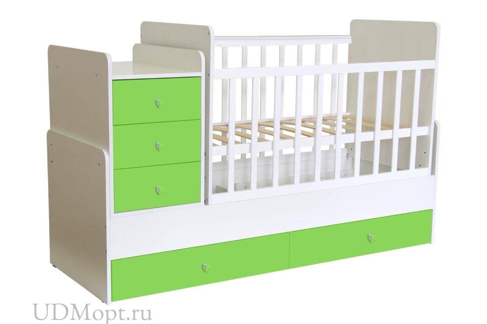 Кроватка детская Polini kids Simple 1100 с комодом, белый-лайм оптом и в розницу
