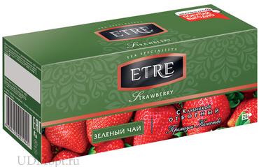 «ETRE», strawberry чай зеленый с клубникой, 25 пакетиков, 50г оптом и в розницу