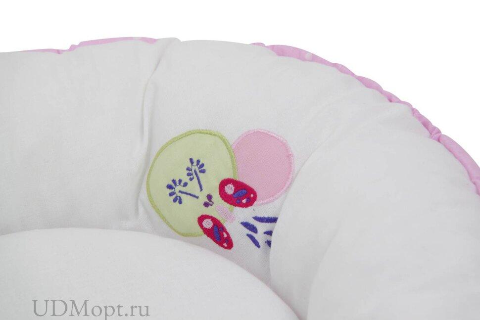 Бортик детский Гнездышко Polini kids Joy Весенняя мелодия, с вышивкой, розовый оптом и в розницу