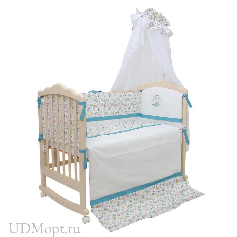 Комплект в кроватку Polini kids Disney Последний богатырь, 7 предметов, лес голубой оптом и в розницу