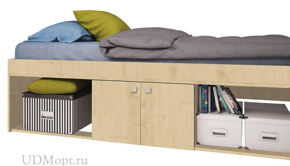 Кровать детская Polini kids Simple 3000 с нишами, натуральный оптом и в розницу