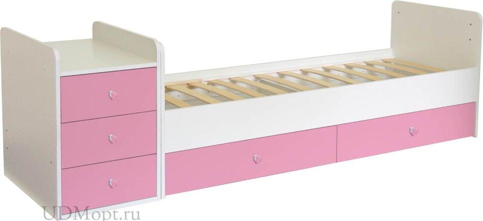 Кроватка детская Polini kids Simple 1100 с комодом, белый-роза оптом и в розницу