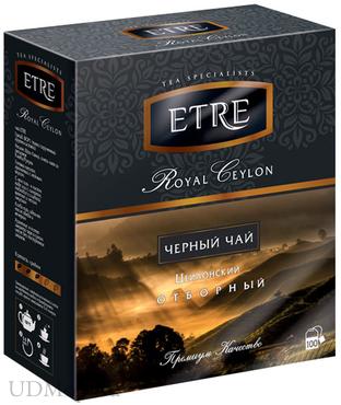 «ETRE», royal Ceylon чай черный цейлонский, 100 пакетиков, 200г оптом и в розницу