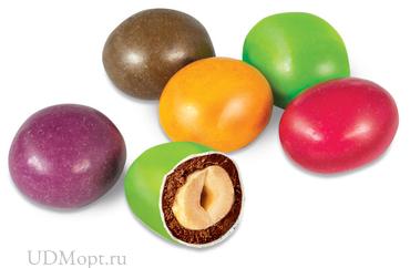 Драже арахис в шоколадной и сахарной цветной глазури (коробка 1,5кг) оптом и в розницу