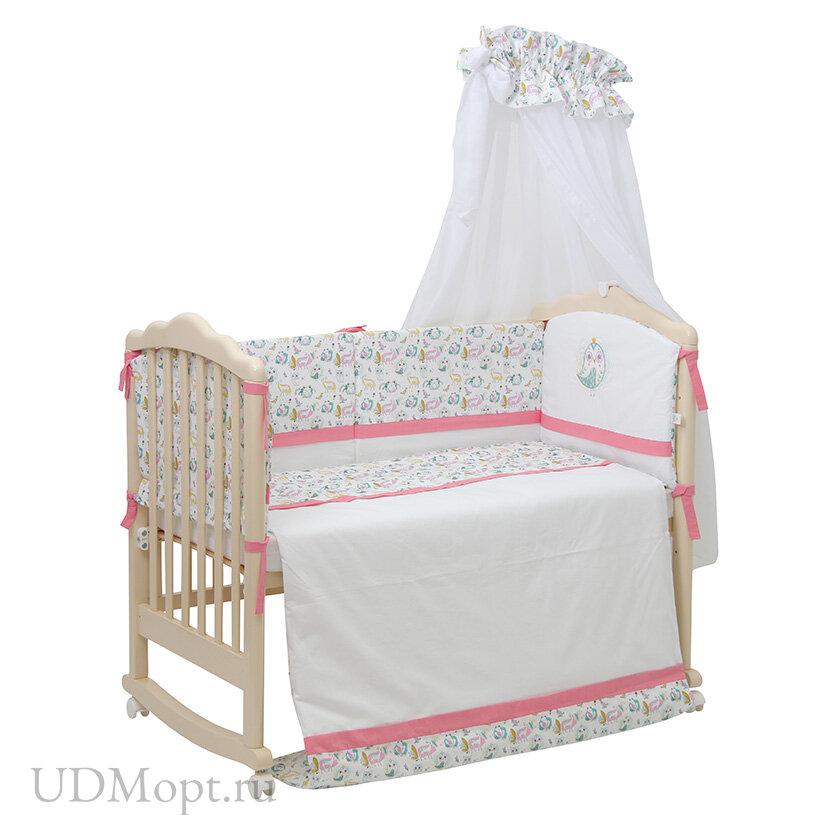 Комплект в кроватку Polini kids Disney Последний богатырь, 7 предметов, лес розовый оптом и в розницу