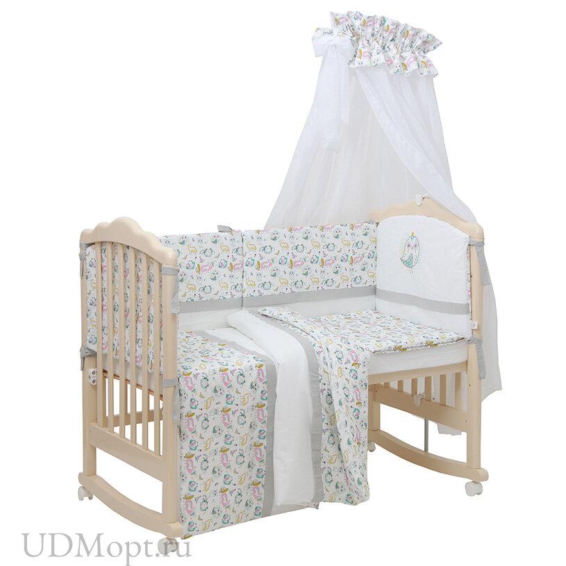 Комплект в кроватку Polini kids Disney Последний богатырь, 7 предметов, лес серый оптом и в розницу