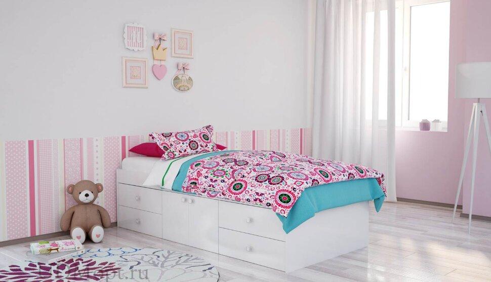 Кровать детская Polini kids Simple 3100 Н с 4 ящиками, белый оптом и в розницу
