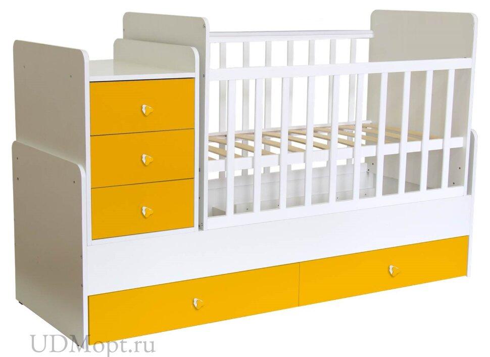 Кроватка детская Polini kids Simple 1100 с комодом, белый-солнечный оптом и в розницу