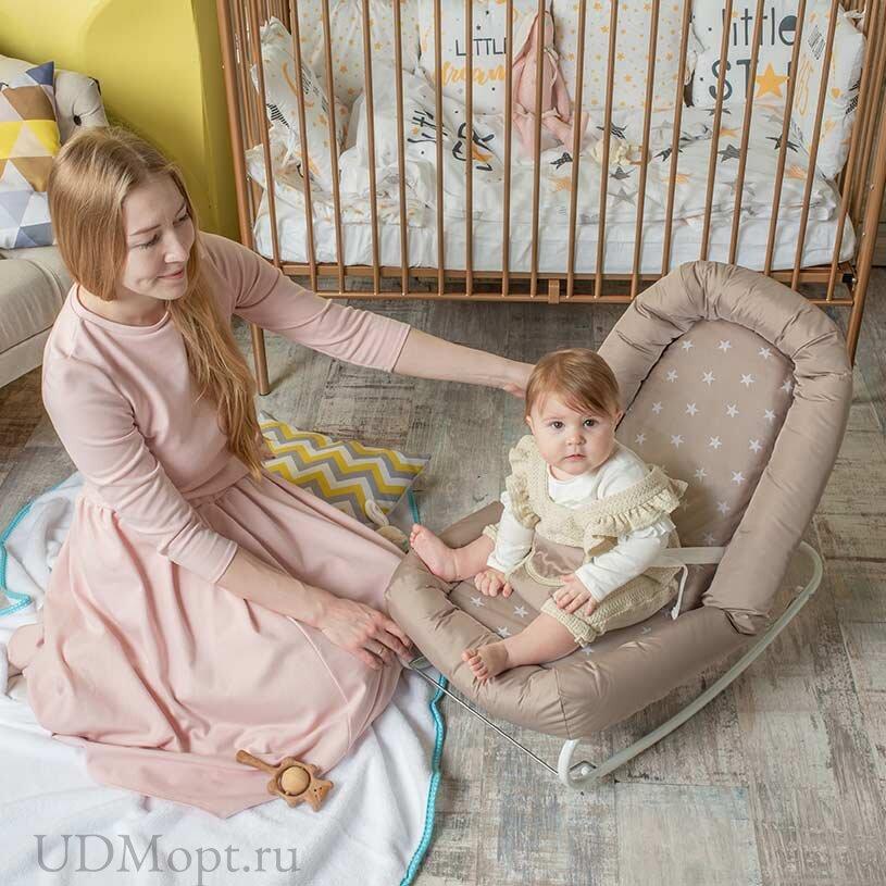 Детский шезлонг Polini kids Звезды, макиато оптом и в розницу