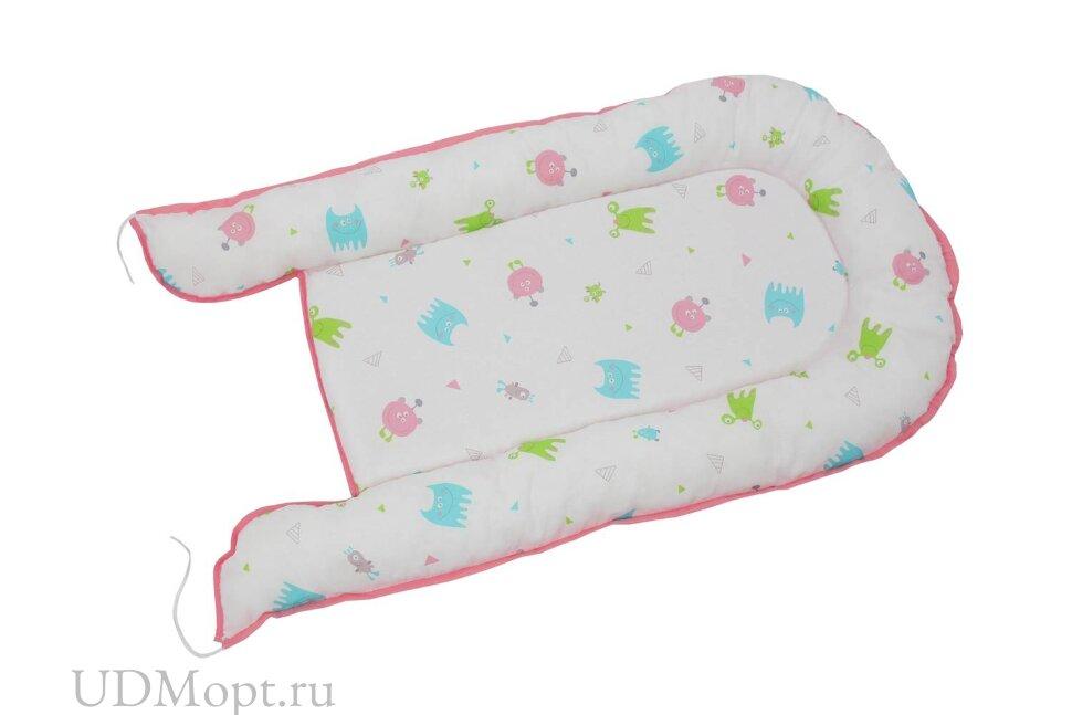 Бортик детский Гнездышко Polini kids Монстрики, розовый оптом и в розницу