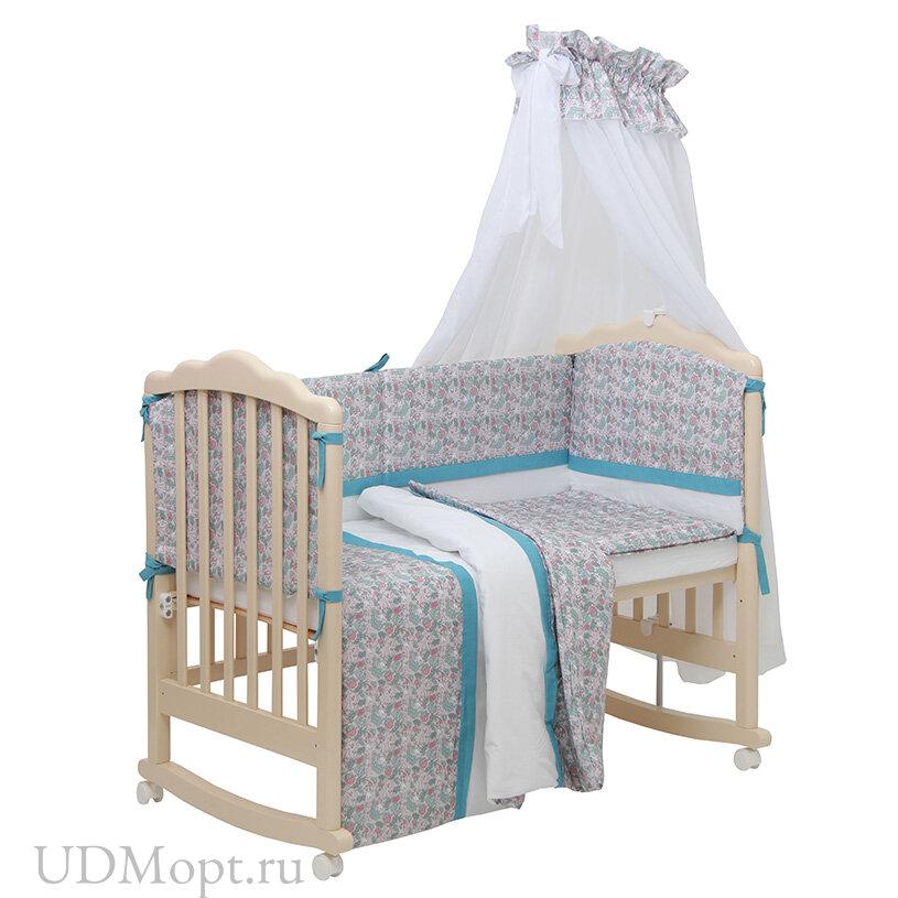 Комплект в кроватку Polini kids Disney Последний богатырь, 7 предметов, принцесса голубой оптом и в розницу