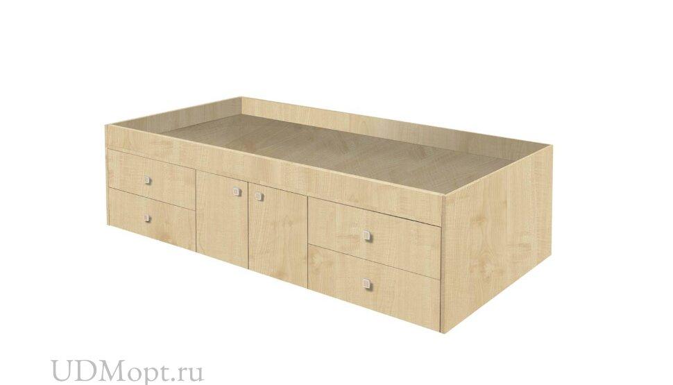 Кровать детская Polini kids Simple 3100 с 4 ящиками, натуральный оптом и в розницу