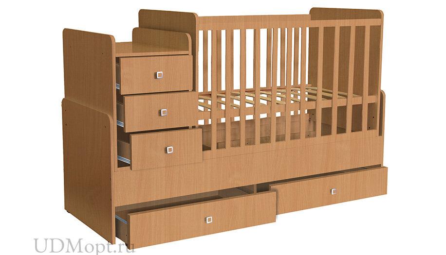Кроватка детская Polini kids Simple 1100 с комодом, бук оптом и в розницу