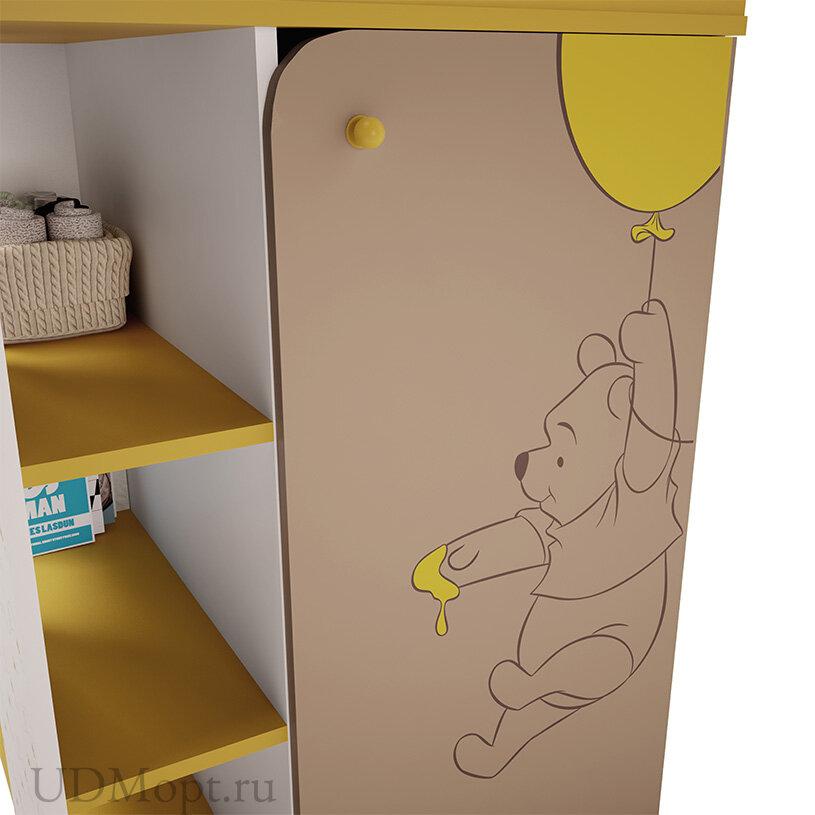 """Комод Polini kids Disney baby 2090 """"Медвежонок Винни и его друзья"""", с дверью, белый-макиато оптом и в розницу"""