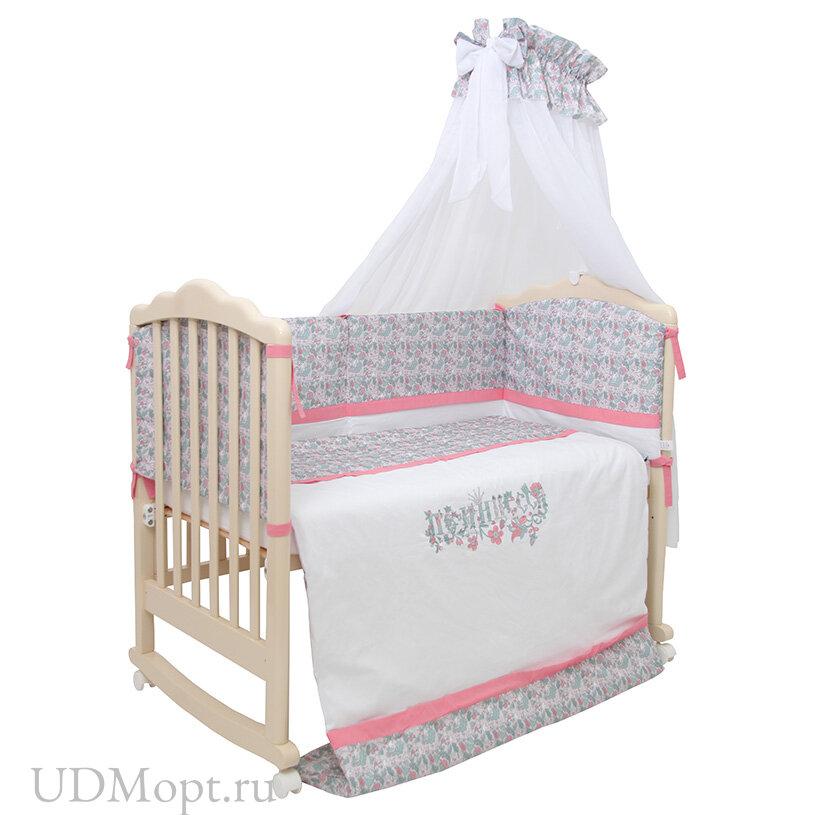 Комплект в кроватку Polini kids Disney Последний богатырь, 7 предметов, принцесса розовый оптом и в розницу