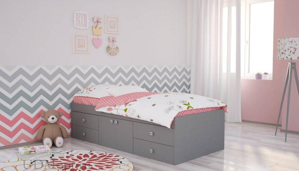 Кровать детская Polini kids Simple 3100 Н с 4 ящиками, серый оптом и в розницу