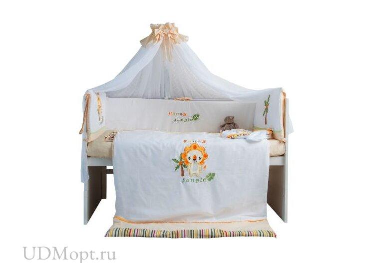"""Комплект в кроватку Polini kids """"Джунгли"""" 7 предметов 120х60 оптом и в розницу"""