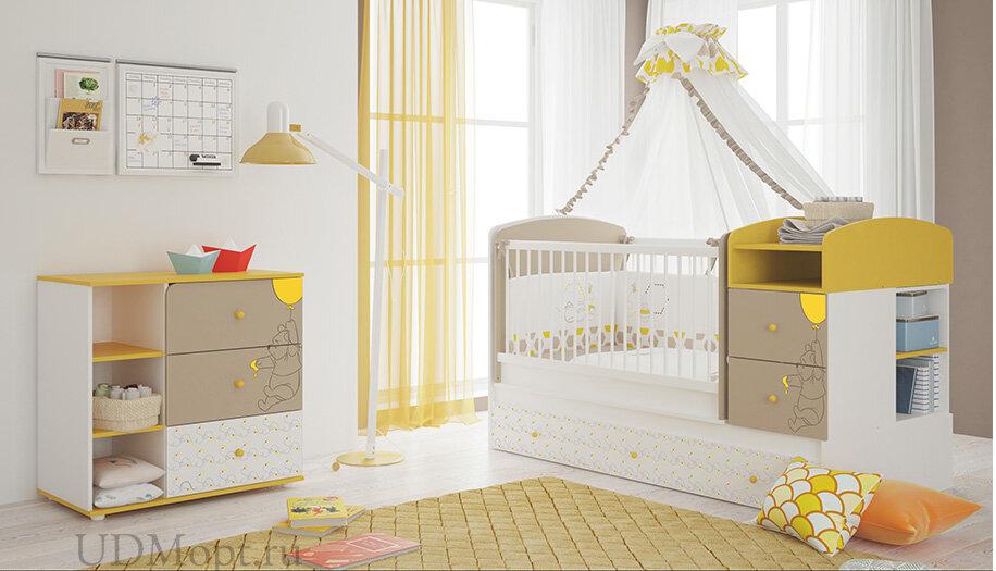 """Комод Polini kids Disney baby 5090 """"Медвежонок Винни и его друзья"""", с 3 ящиками, белый-макиато оптом и в розницу"""