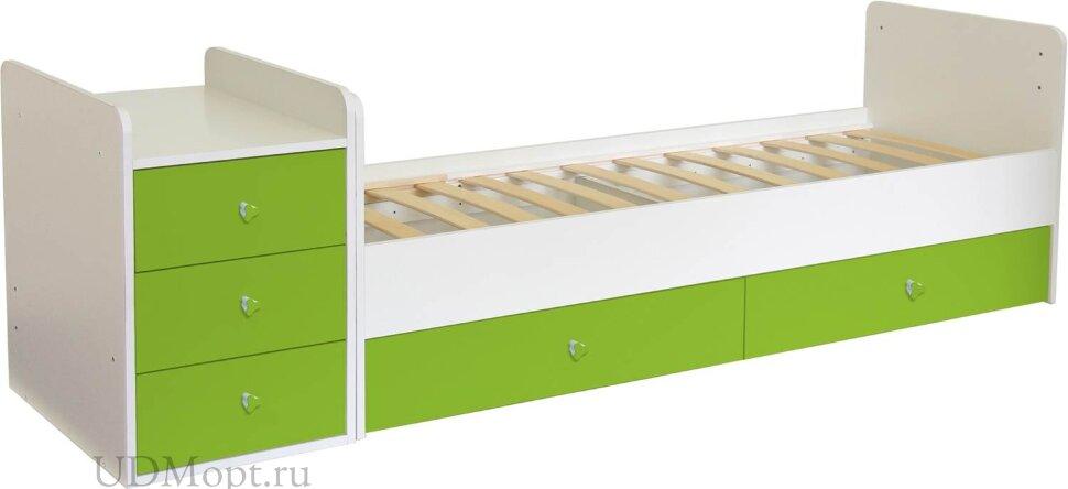 Кроватка детская Фея 1100 белый-лайм оптом и в розницу