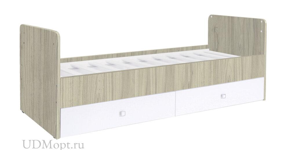 Кроватка детская Polini kids Simple 1100 с комодом, вяз-белый оптом и в розницу