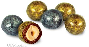 Драже фундук в молочно-шоколадной и золотисто-серебристой глазури (коробка 1,5кг) оптом и в розницу