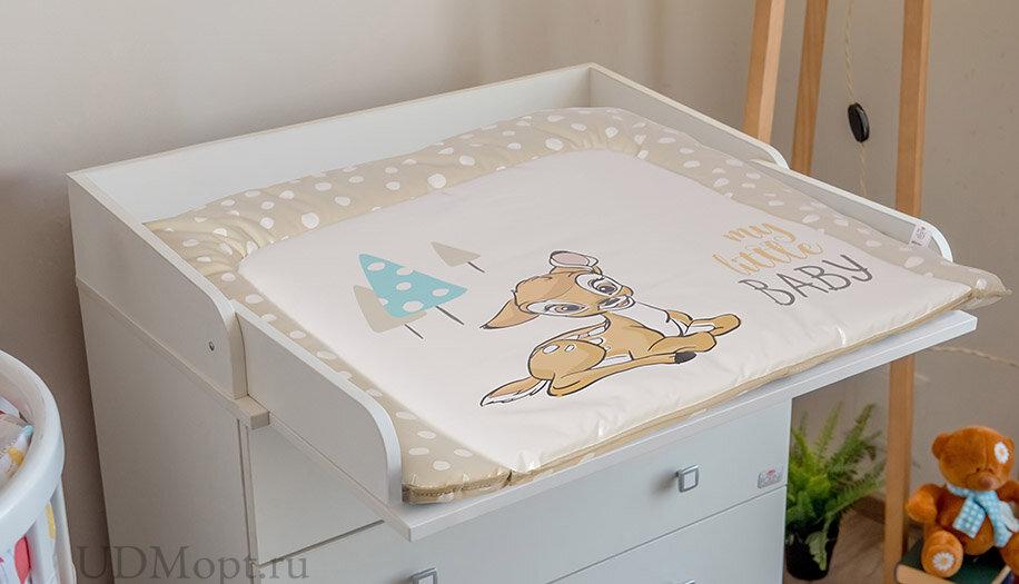 Матрас для пеленания Polini Kids Disney baby Бэмби 77х72, бежевый оптом и в розницу