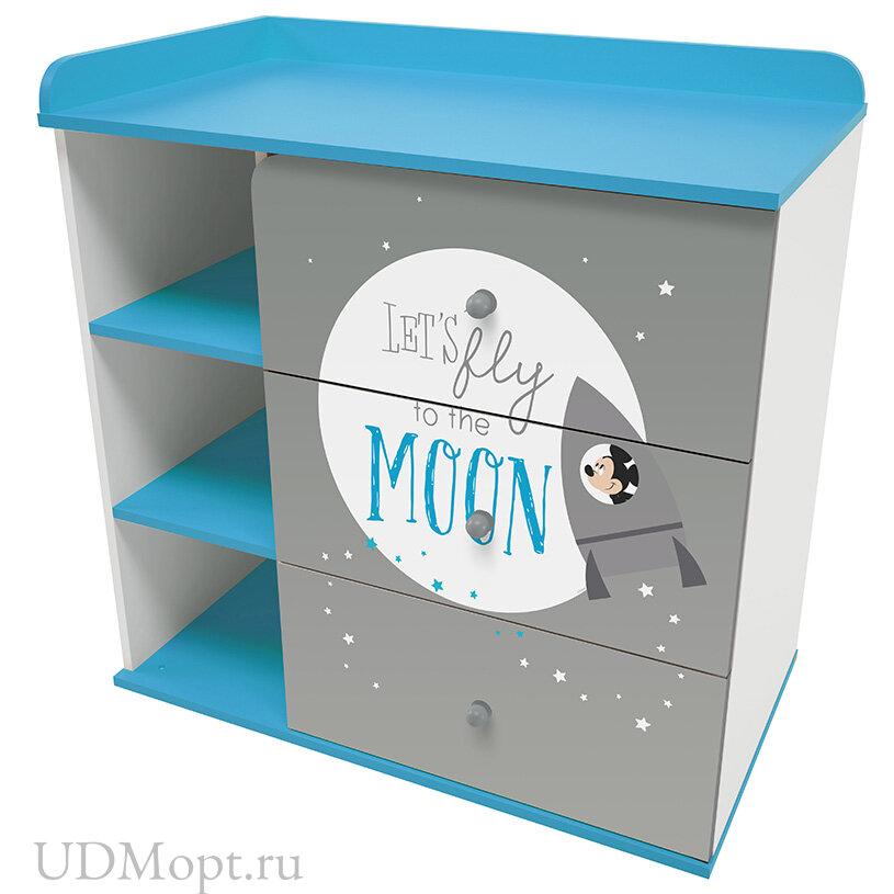 """Комод Polini kids Disney baby 5090 """"Микки Маус"""", с 3 ящиками, белый-серый оптом и в розницу"""