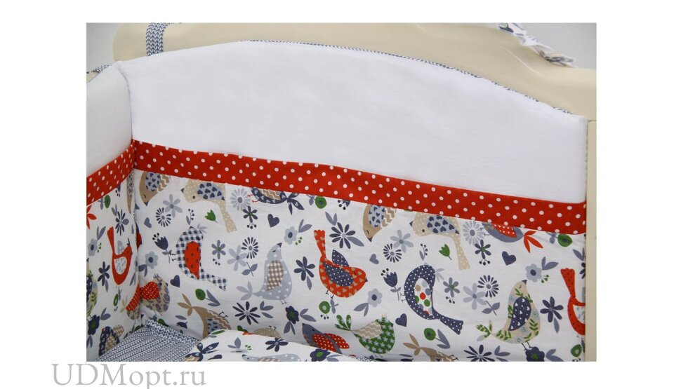 """Комплект в кроватку Polini kids """"Кантри"""" 7 предметов 120х60, красный оптом и в розницу"""