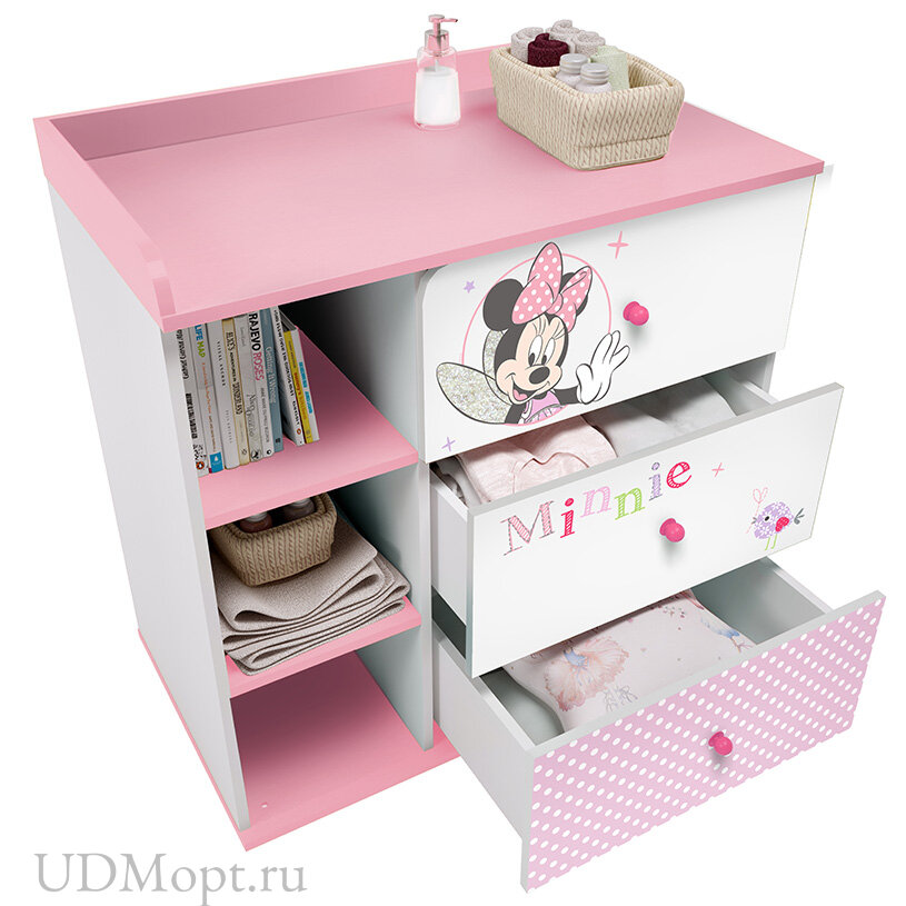"""Комод Polini kids Disney baby 5090 """"Минни Маус-Фея"""" , с 3 ящиками, белый-розовый оптом и в розницу"""