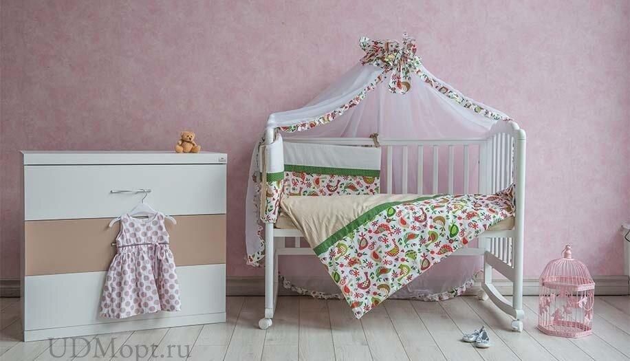 """Комплект в кроватку Polini kids """"Кантри"""" 7 предметов 120х60, зеленый оптом и в розницу"""
