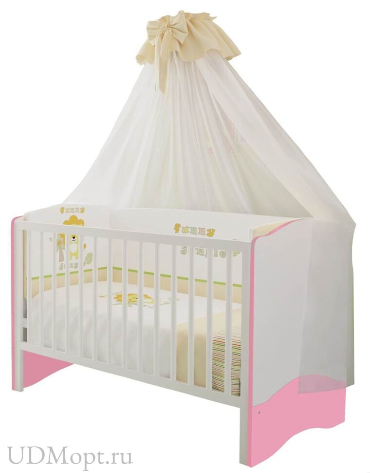 Кроватка детская Polini kids Simple 140х70 белый-роза оптом и в розницу