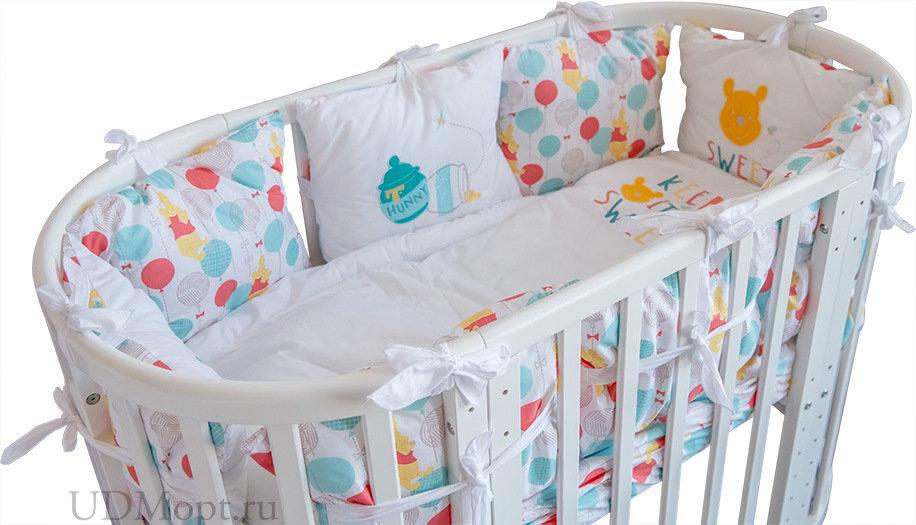 Комплект в кроватку Polini kids Disney baby Медвежонок Винни «Чудесный день», 5 предметов, 120x60, р оптом и в розницу