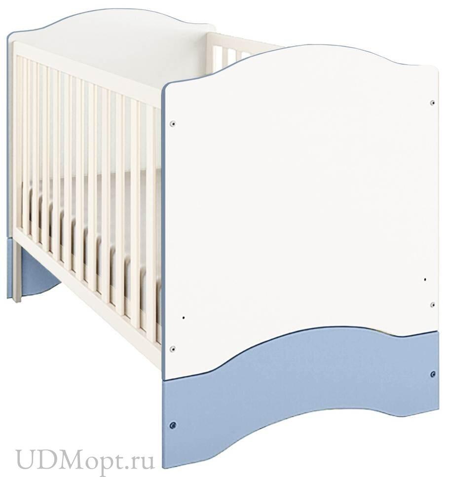 Кроватка детская Polini kids Simple 140х70 белый-синий оптом и в розницу