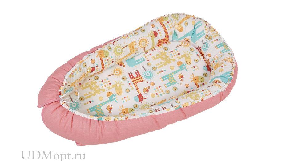 Бортик детский Гнездышко Polini kids Жирафы, розовый оптом и в розницу