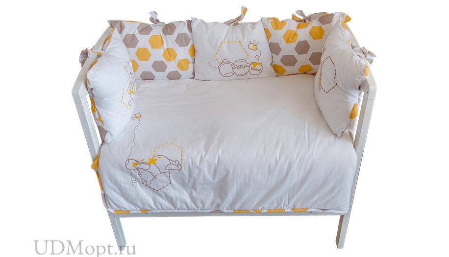 Комплект в кроватку Polini kids Disney baby «Медвежонок Винни и его друзья» 5 предметов, 120x60, мак оптом и в розницу