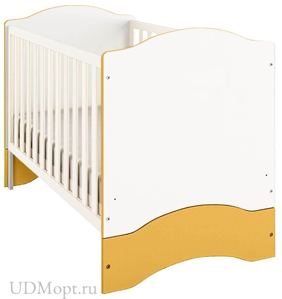 Кроватка детская Polini kids Simple 140х70 белый-солнечный оптом и в розницу