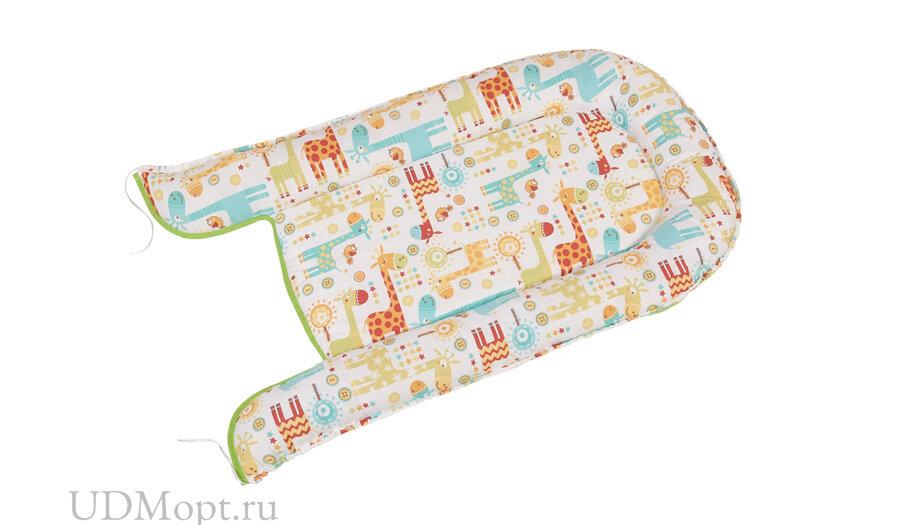 Бортик детский Гнездышко Polini kids Жирафы, зеленый оптом и в розницу
