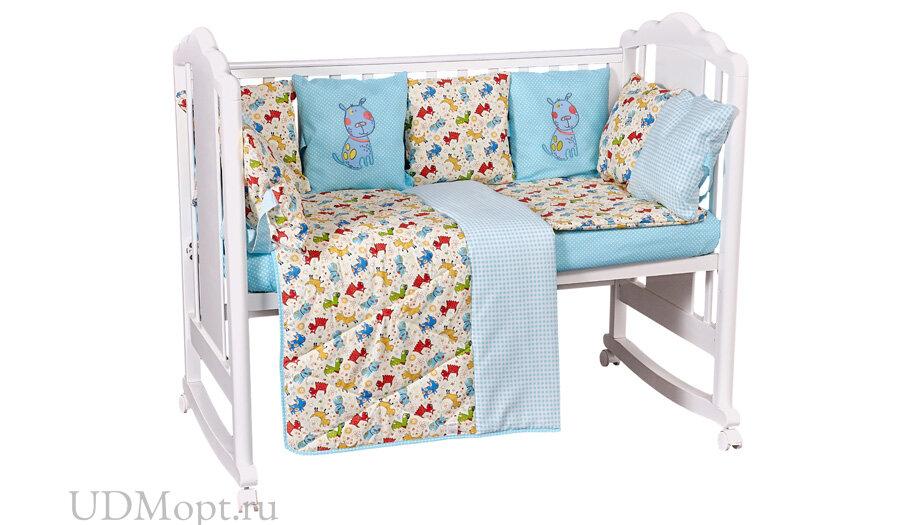 Комплект в кроватку Polini kids Собачки 5 предметов, 120х60, бирюзовый оптом и в розницу