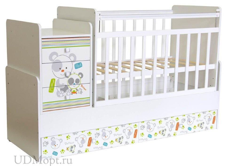 Кроватка детская ФЕЯ 1100 Панды, белый оптом и в розницу
