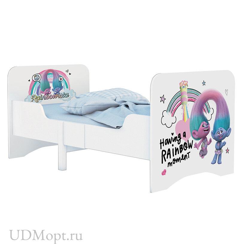 Кровать детская раздвижная Polini kids Fun 3200 Тролли, розовый оптом и в розницу