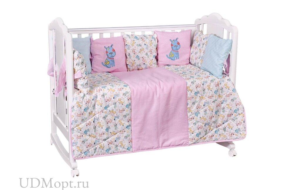 Комплект в кроватку Polini kids Собачки 5 предметов, 120х60, розовый оптом и в розницу